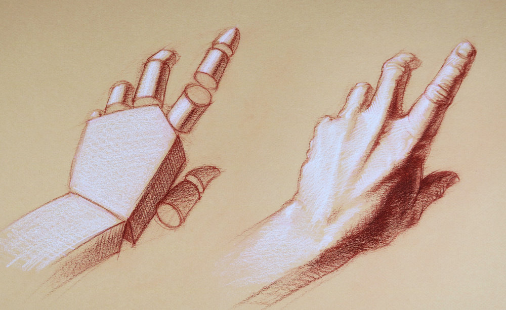 This drawing shows that the complex pattern of light and shadow on the hand can be solved by simplifying the lighting scheme using basic volumes such as cylinders and blocks.