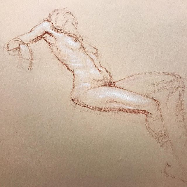 I was able to get a drawing of Laurie in during class today. #drawing #figuredrawing #art