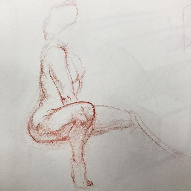 5 minute quick sketch of Ginger from class today. #drawing #figuredrawing