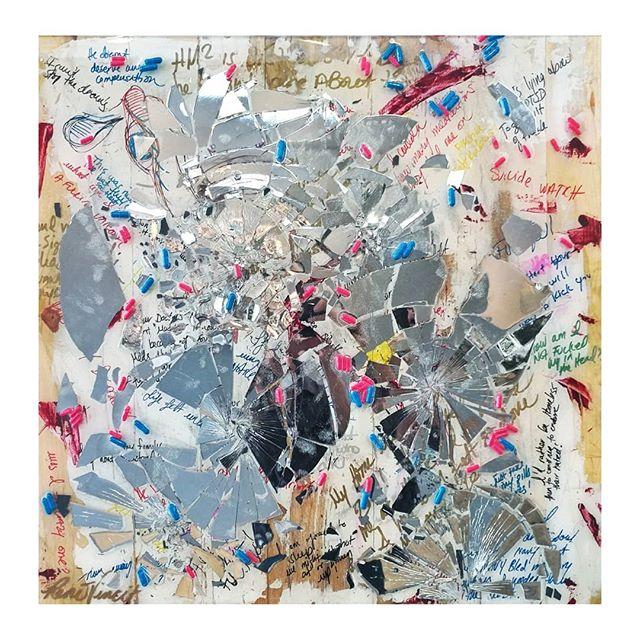 """Invisible Wounds"" 30 x 30  #abstractart #mentalhealthawareness #veteranartist #veterans #ptsd #ptsdawareness #recoverymode #sobrietyrocks #expressive #dmvart #dmvartist #mirrorart #resinart #resina #lgbtartists #emergingartists #dcartist #visualartist #fxva #archesgallery #workhouseartscenter #rageroom #metoo #invisiblewounds #thesuck #warpaints #warveteran you"