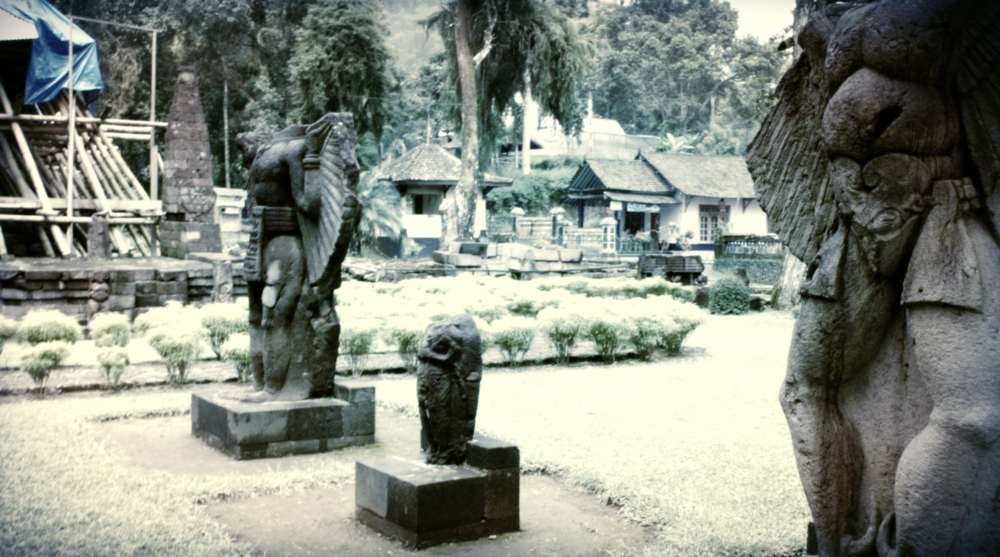 Fig 2. Three decapitated figurative statues located on the third (top) terrace of the Candi Sukuh temple complex. Source: Mariko J. Azis, 2016.