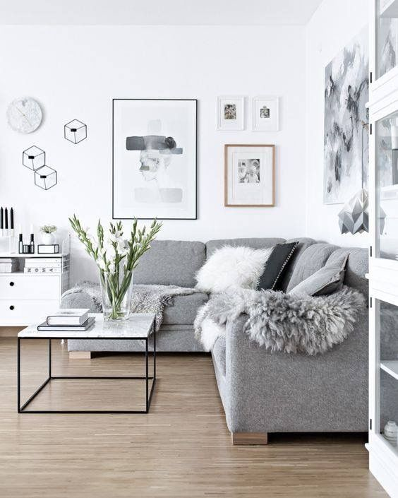 I mean this is busy, but I really like the gray couch and the seemingly minimalistic nature of the space.