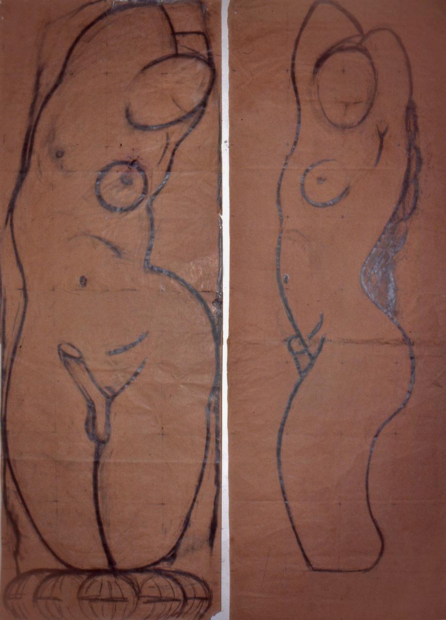 Studies for Conjunction, 1987, graphite
