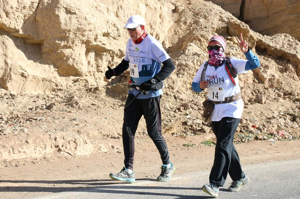 Martin and Kubra running in The Marathon of Afghanistan