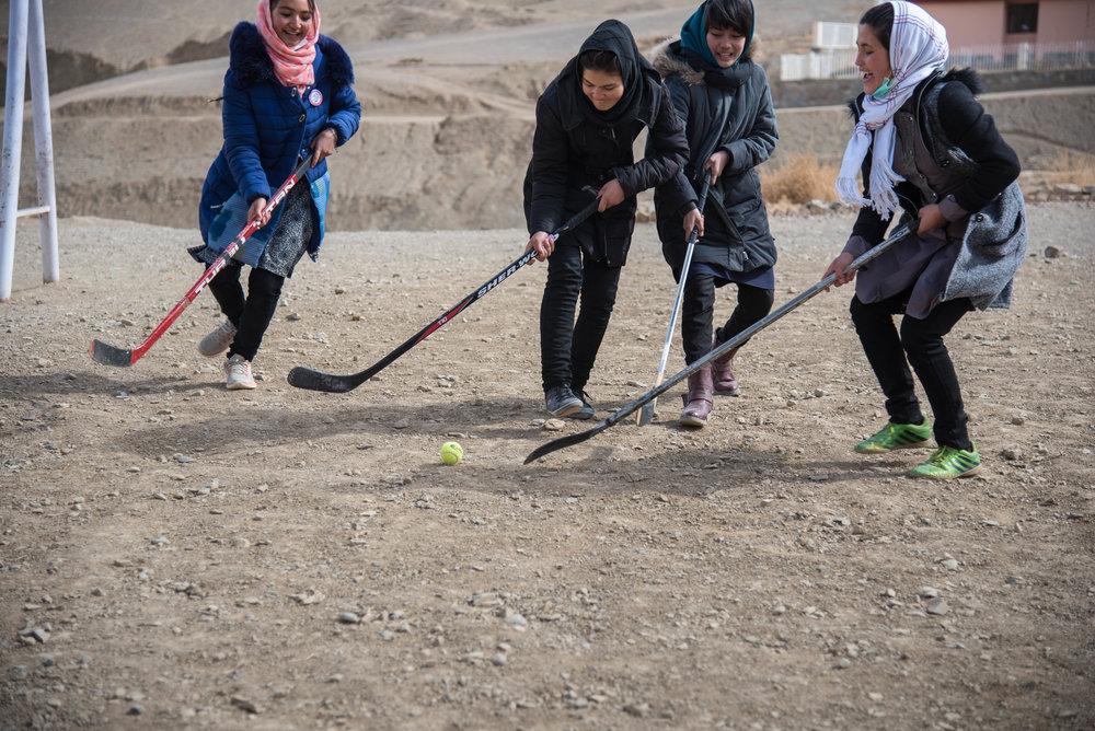 Learning the basics of hockey.