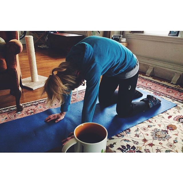 Coffee and yoga for breakfast. Intervals for lunch. Physical therapy for dinner. Sleep for desert.