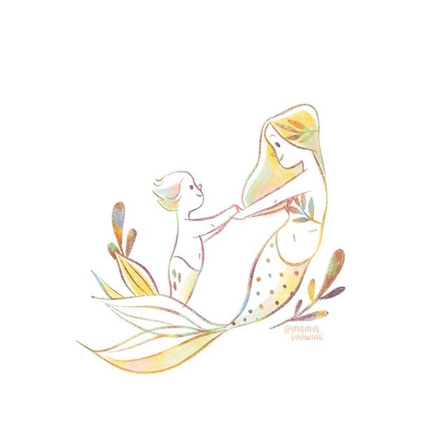 For our little ones 💛 Sibling love. 🐬🐬💕 . . . . . . . . #mermay #mermaid #mermaidfamily #siblinglove #bigsister #littlebrother #littlesister #sisters #littlemermaids #sketchbook #kidslitart #illustratorsofinstagram #mermaidkids #mermaidbaby #momisdrawing