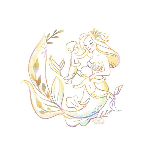 Mermay for twin mamas 💛💛 . Inspired by real life mermaid and Auri's swimming teacher and underwater model @mermaidlyn . Mermaid prints and custom mermaid drawings are also now open!  Happy May mamas 💕 . . . . . #mermay #mermaidmom #twins #twinmama #momisdrawing
