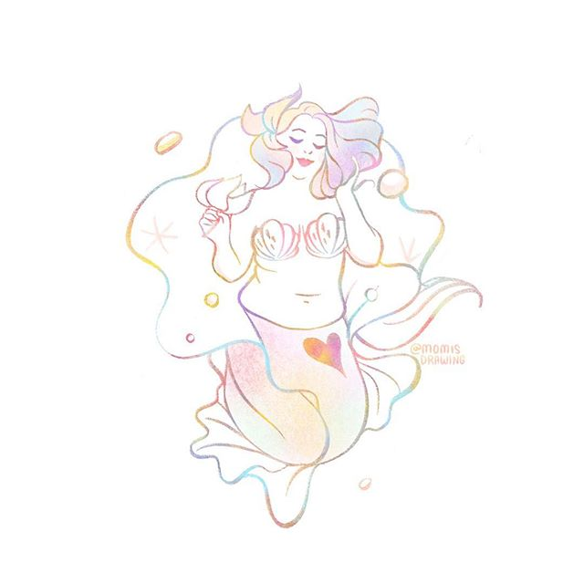 My mom bod actually looks like this than any other mermaid I drew. Month of mermaid continues with Body positive mermaid💕 Inspired by super @bodyposipanda 🐼✨🙌✨. . . . #mermay2018 #bodypositive #mermaid #momisdrawing