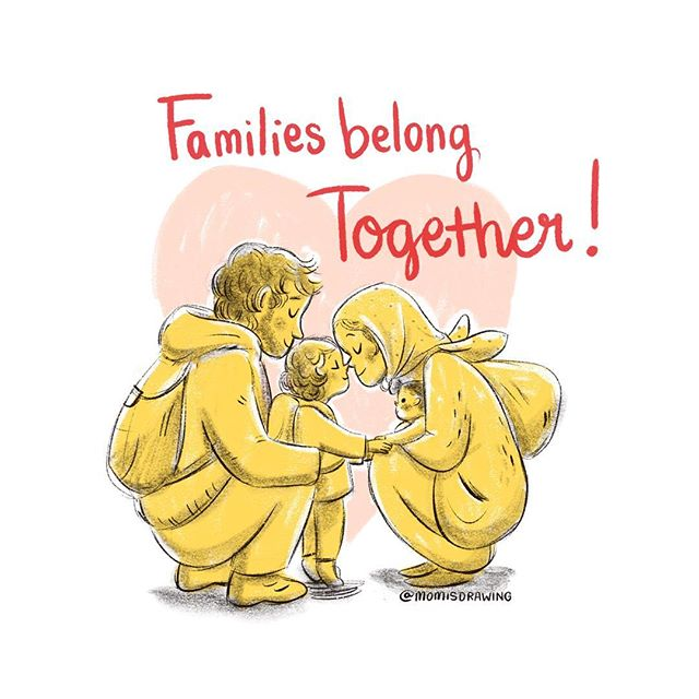 Sending late night prayers to all the broken hearts pulled apart from their families, then scattered across this great nation they once hoped to find safety and humanity. . . #familiesbelongtogether #insomnia #momisdrawing