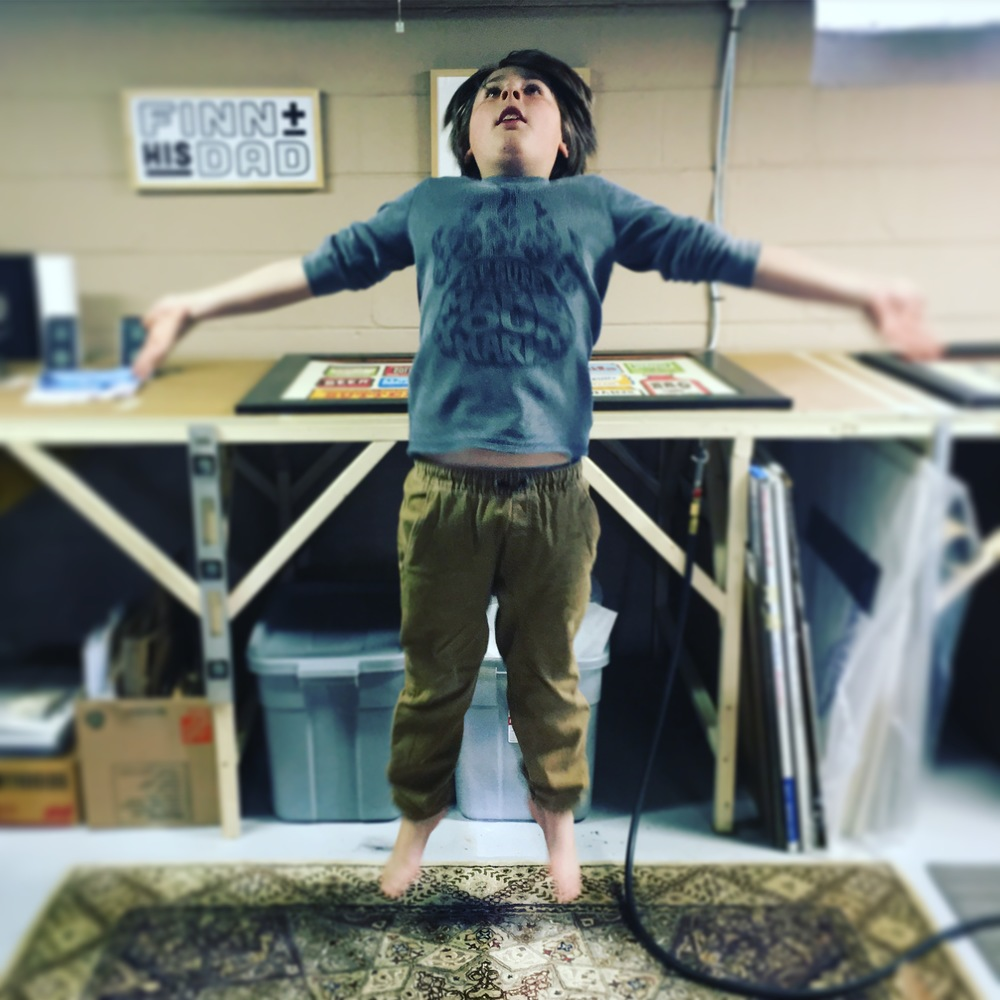 Finn levitates in the shop.