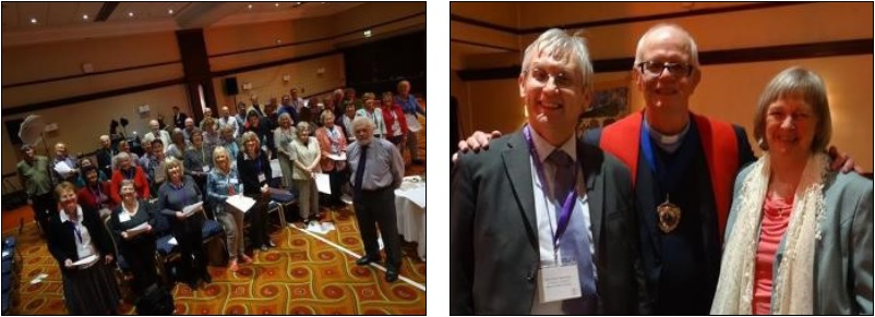 The photograph, below left, shows the General Assembly Choir, conducted by David Dawson. The photograph, below right is of Rev Alex Bradley, Principal of Unitarian  College , Manchester, Rev Charles VanDenBroeder, incoming President of the GA and Dorothy Hewerdine, outgoing President of the GA.  Photographs on this page courtesy of the GA photo