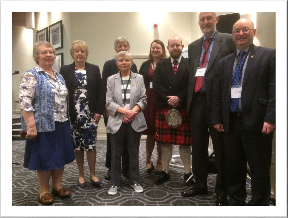 Left to right: Margaret Hill, Joan Cook, Rev Andrew Hill, Ann Sinclair, Hannah Cook, Adam Cook, Stan Cook, Derek McAuley, Chief Officer