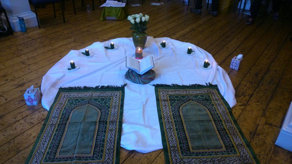 Honouring Islam, created for a OneSpirit interfaith seminary session. Note that the Qur'an is elevated from the floor in respect to the sacred text. (Photos supplied by Peter Fairbrother).
