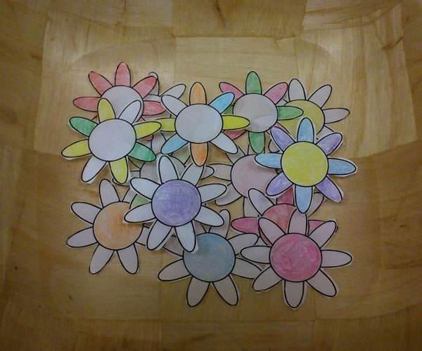 Photo by Peter Fairbrother: paper lotus flowers which he used to illustrate his 'Time for All Ages' story.