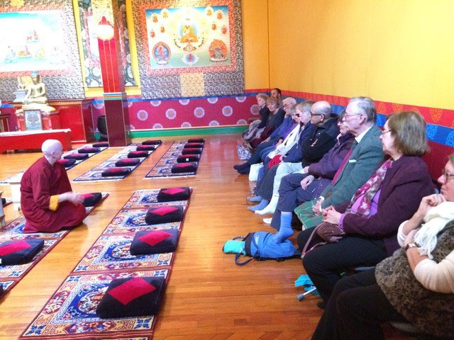 Ani Dolkar talking about Tibetan Buddhism, photo by Jon Bagust