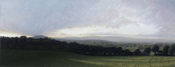 """View near Whitchurch Canonicorum"", oil on flax, 30""x14"""