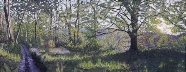 """Lewesdon Blubells"", oil on flax, 92x36cm"