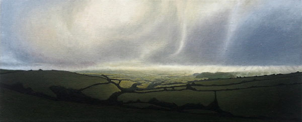 """View from Eggardon Hill"", oil on flax, 100x40cm"