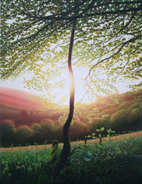 """Young Tree on Lewesdon Hill"", oil on flax, 42""x55"""