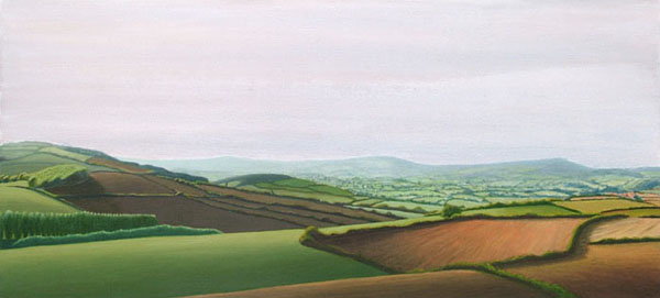 """Hazy Summer's View from Allington Hill"", oil on canvas, 120x55cm"
