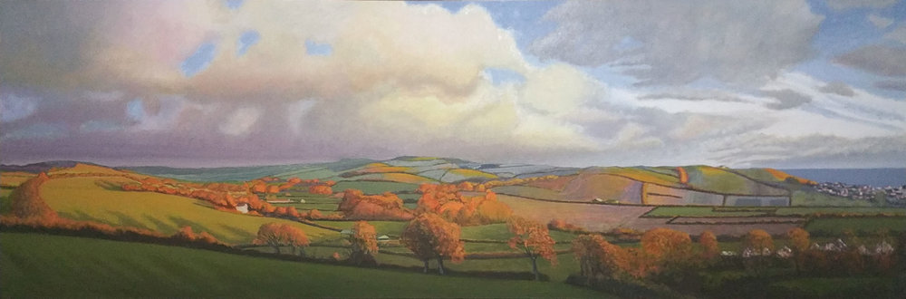 """A view towards Burton Bradstock"", oil on flax, 75""x2"" (SOLD)"