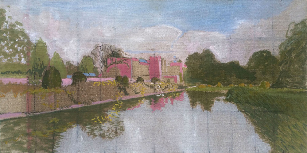 "Forde Abbey 12""x24"" oil on flax"