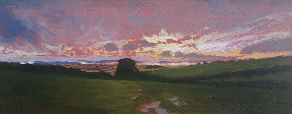 "North Bowood Sunset Clouds 20""x8"" oil on canvas"