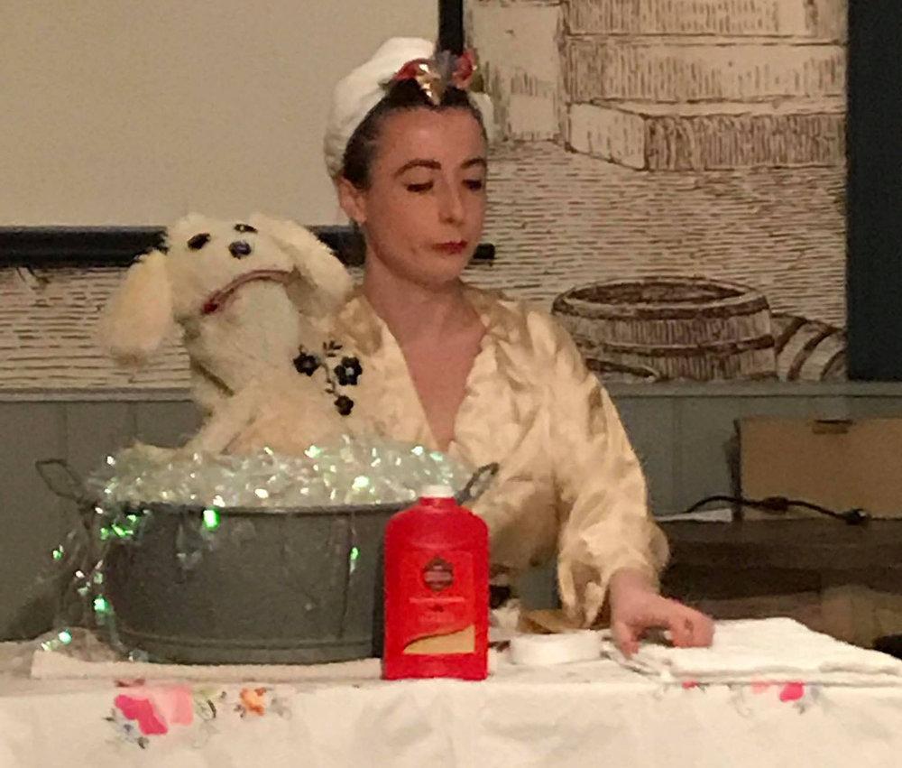 Sylvia Hunt  giving a Performance at Salon48 Feb 2019