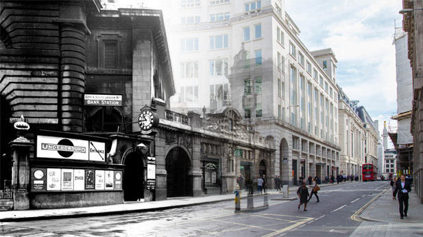 Bank Station then and now. Source The London Transport Museum.