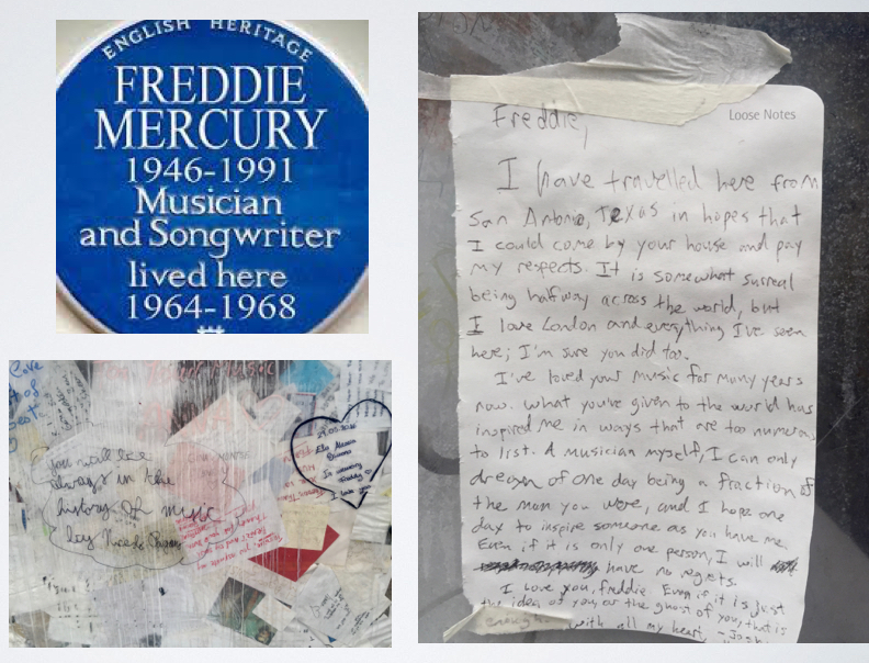 Handwritten messages attached to the wall outside Mercury's former house.