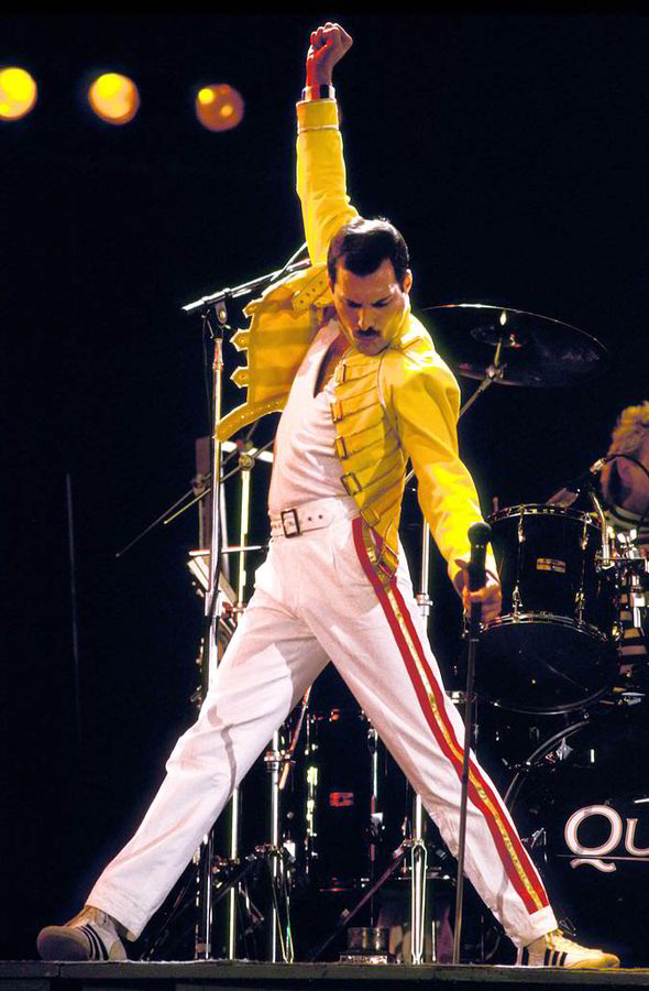 Freddie Mercury on tour with Queen. 1986