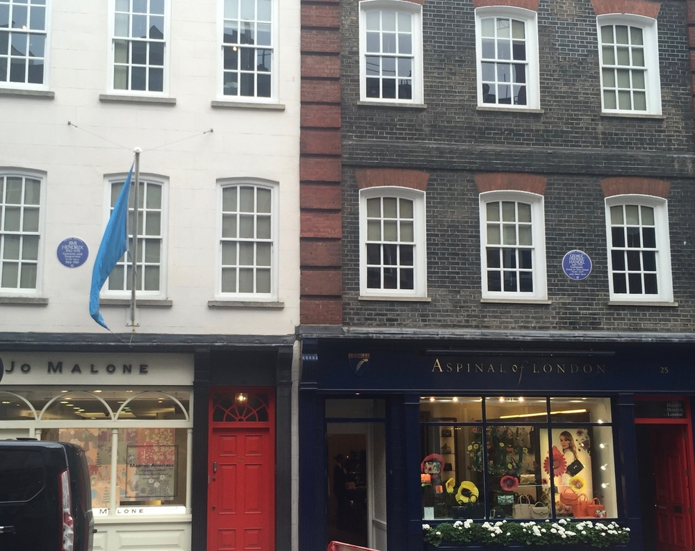 23 and 25 Brook St, Mayfair. Former residences of Hendrix and Handel.