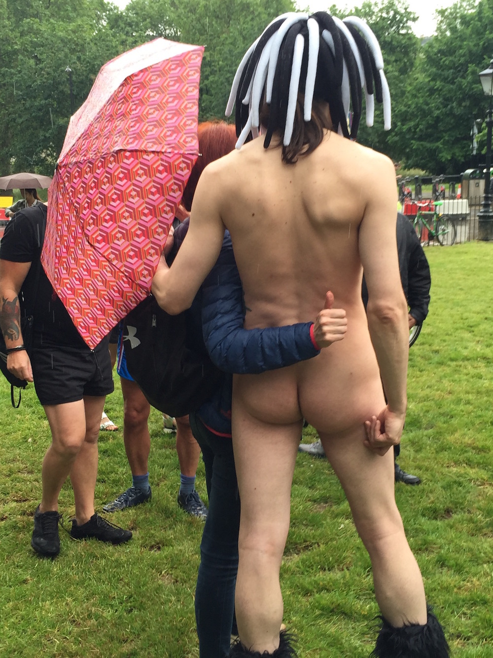 Thumbs Up at London's World Naked Bike Ride
