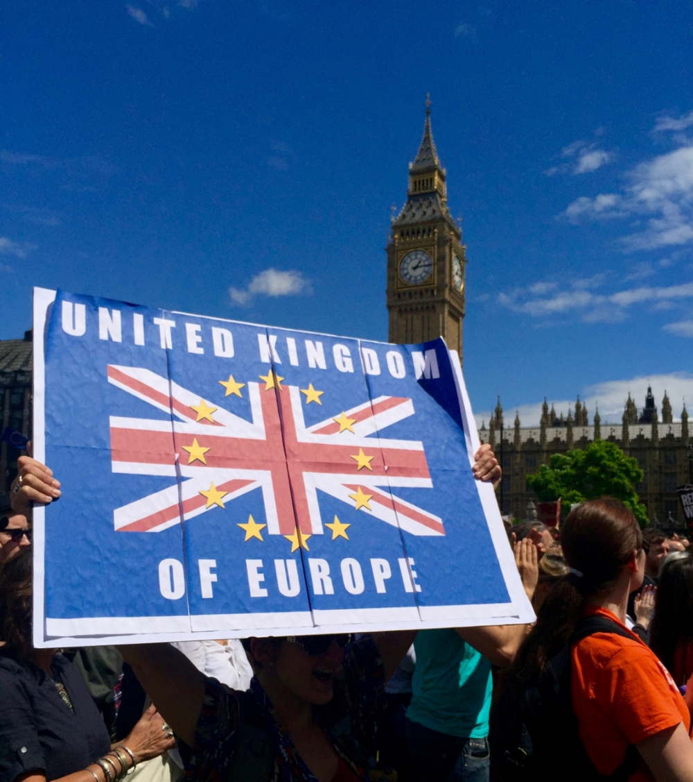 United Kingdom of Europe.  Protesting Brexit at March of Europe