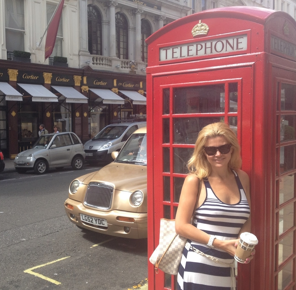 Red Phone Booth Outside Cartier with Christina Ford