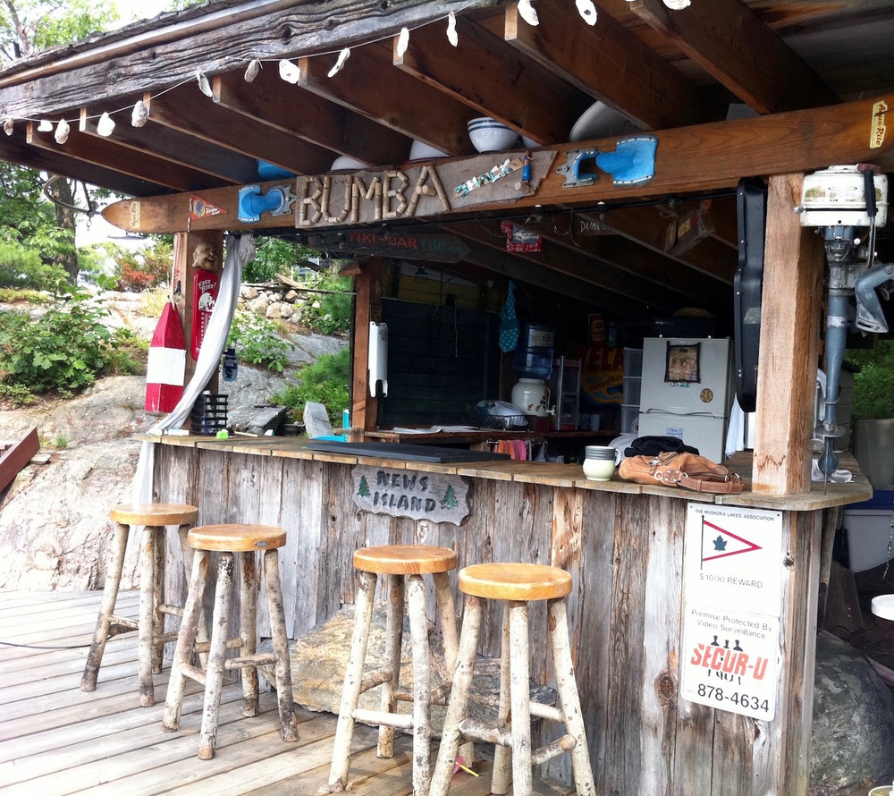 My friend Tim's Tiki Bar on his dock on Lake Muskoka
