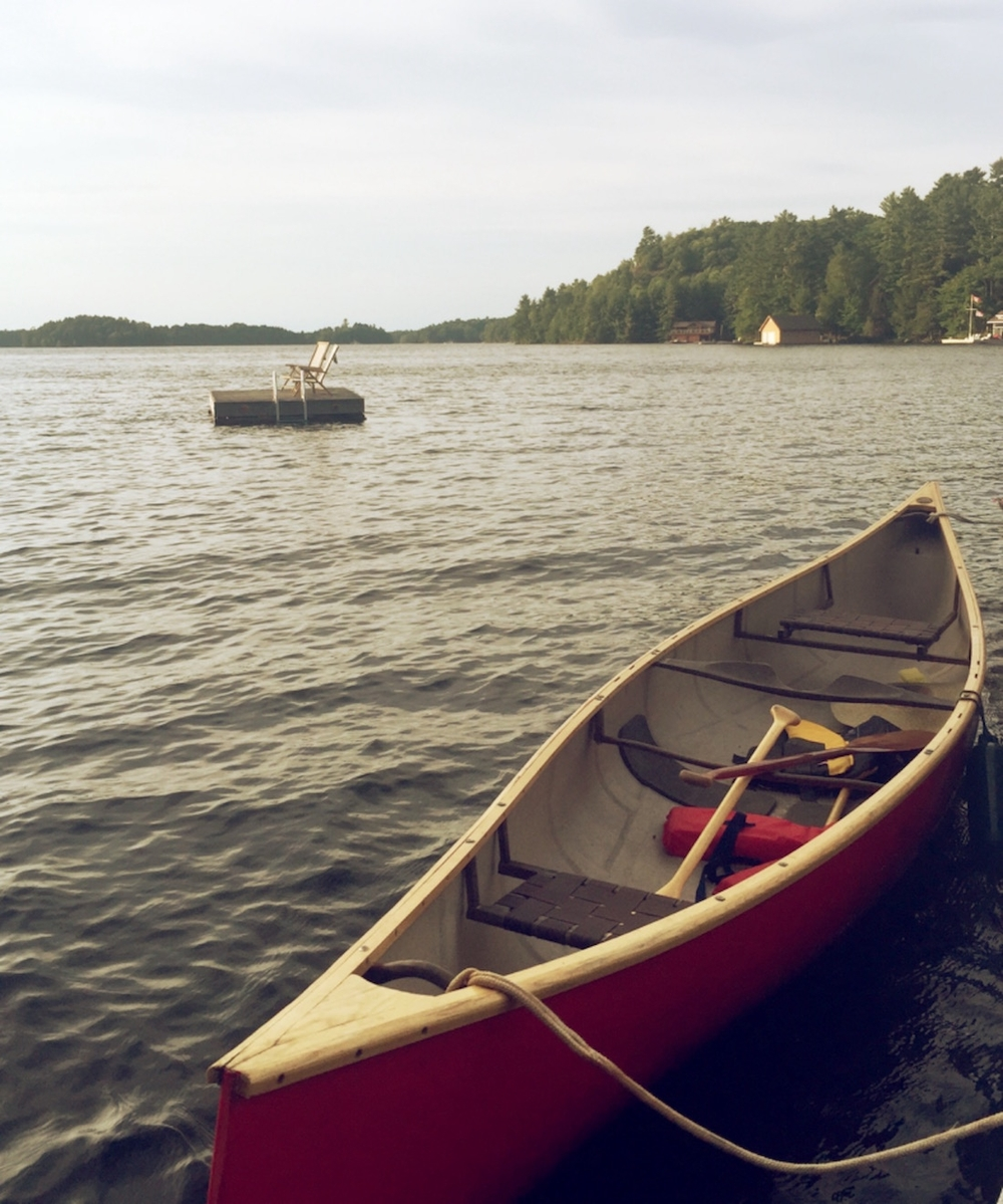 Canoe at the dock on Lake Rosseau
