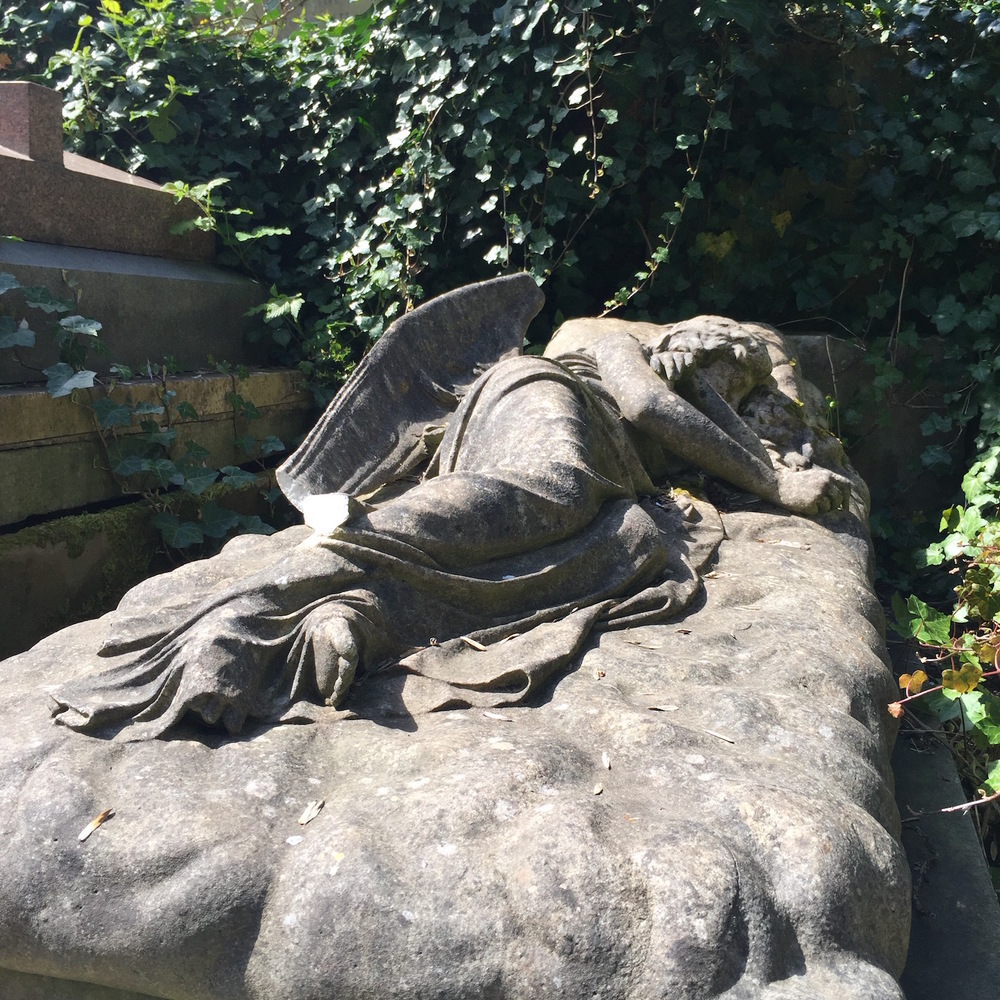 Sleeping Angel tomb of Mary Nichols in West Highgate Cemetery