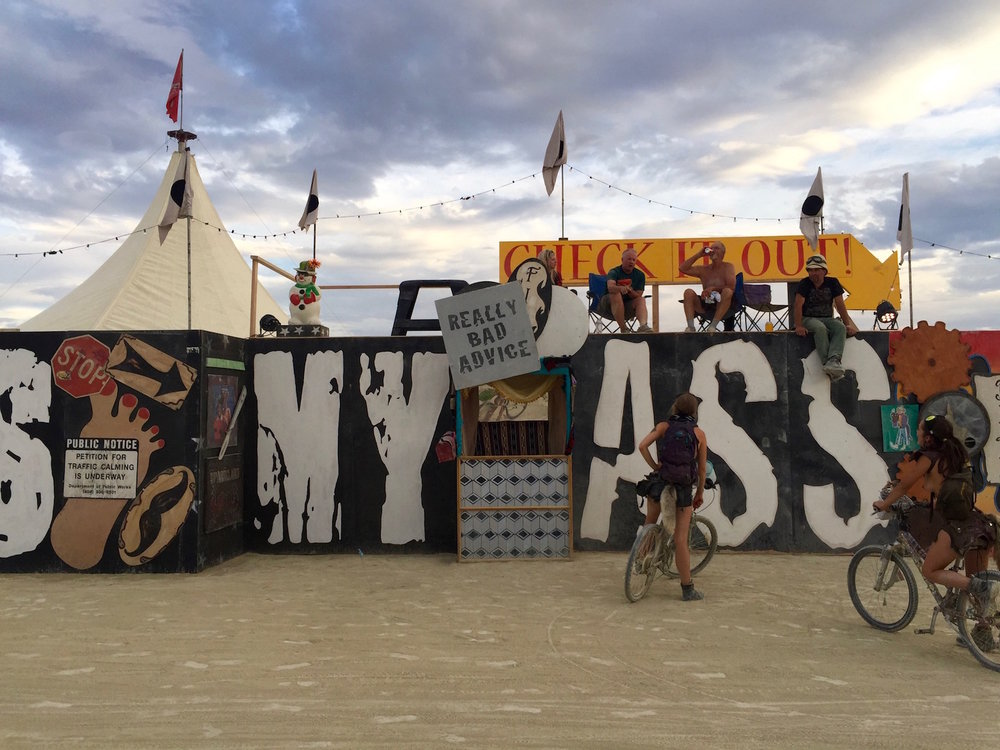 Really Bad Advice booth at Burning Man, 2016