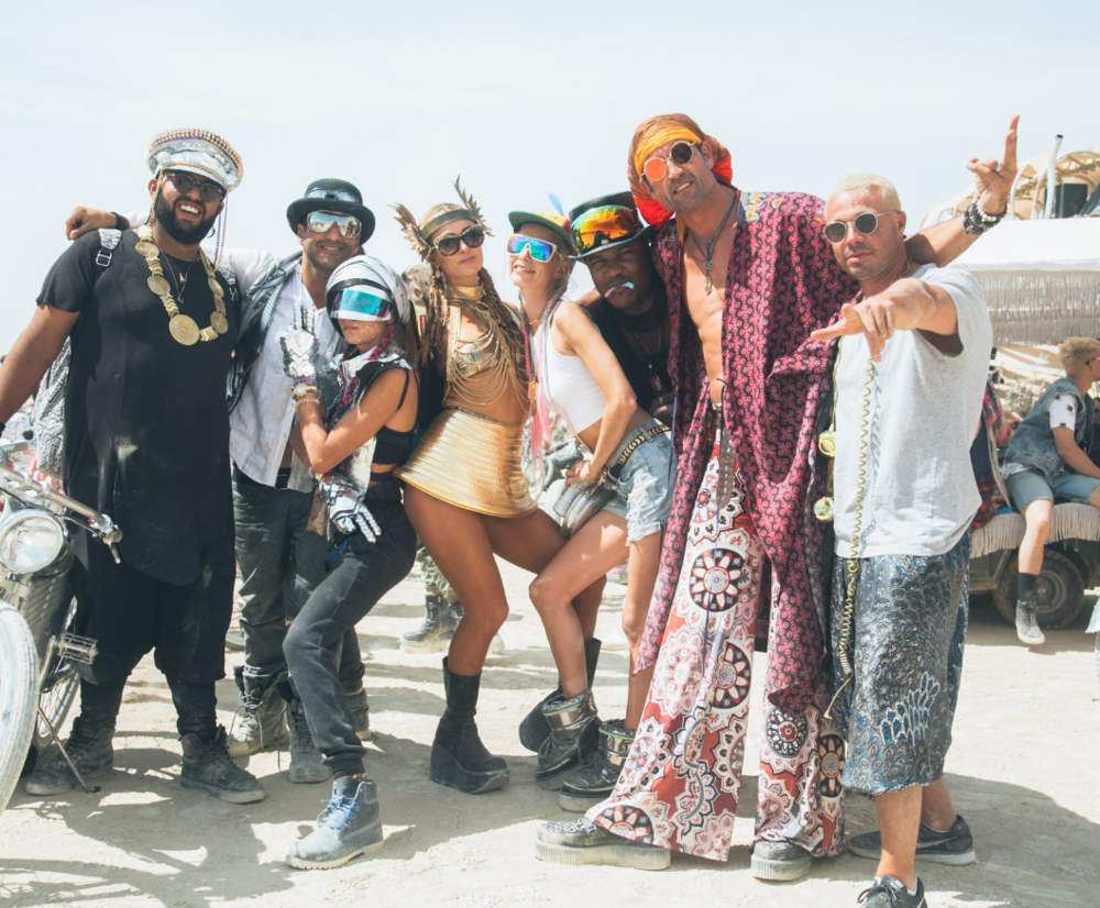 Paris Hilton, Cara Delevingne and friends at this year's Burning Man.