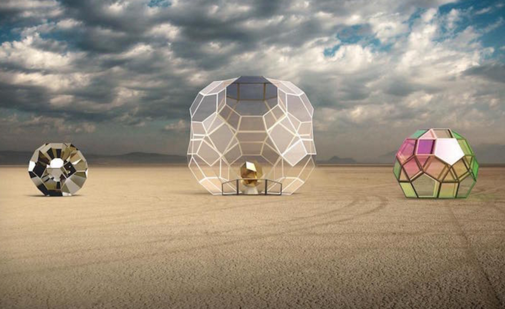 Art installation of Giant Spheres in the desert at Burning Man 2016