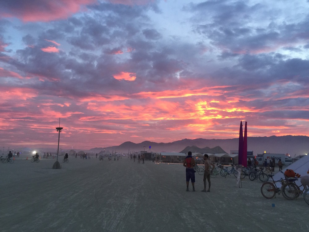Sunset on the Playa near the meditation tent.   Click on to see video.