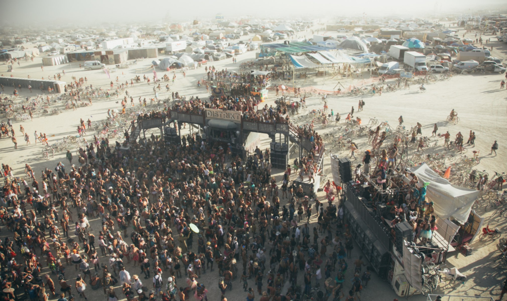 Overhead shot of the Distrikt Camp party, Burning Man