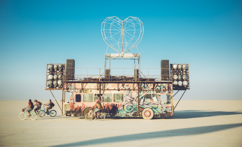 Mutant Art Car with killer sound system at Burning Man