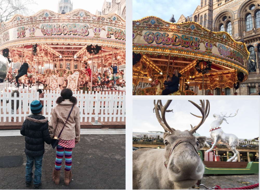 Clockwise, Waiting For the Carousel at Natural History Museum. Reindeer at Covent Garden.