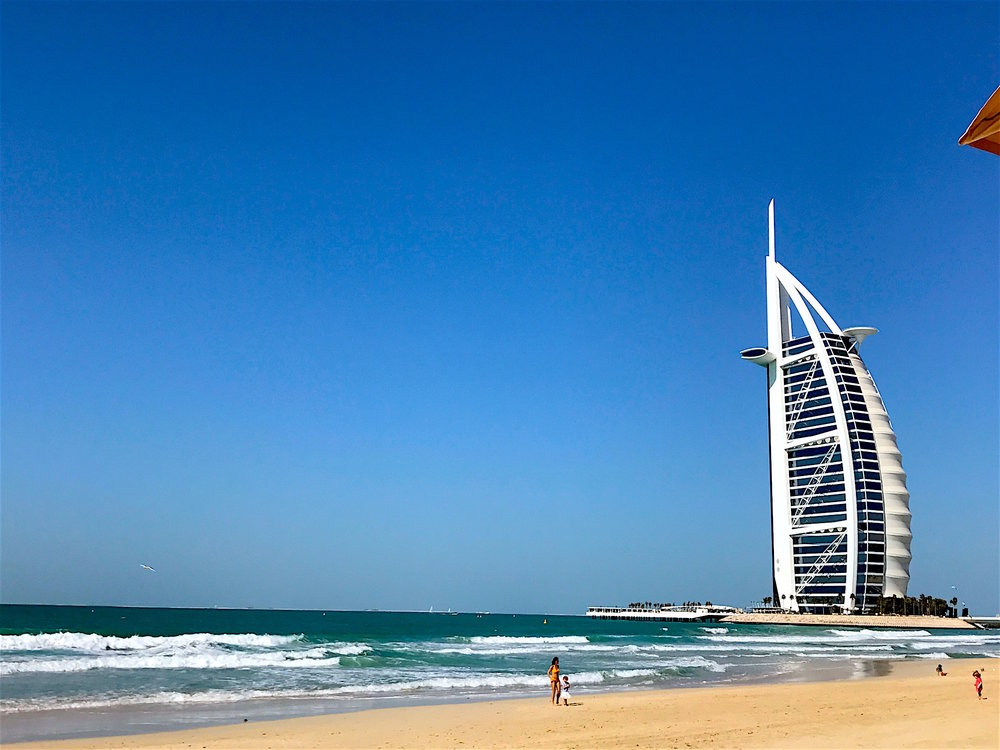 Jurmeriah Beach, Dubai with view of Burj Al Arab