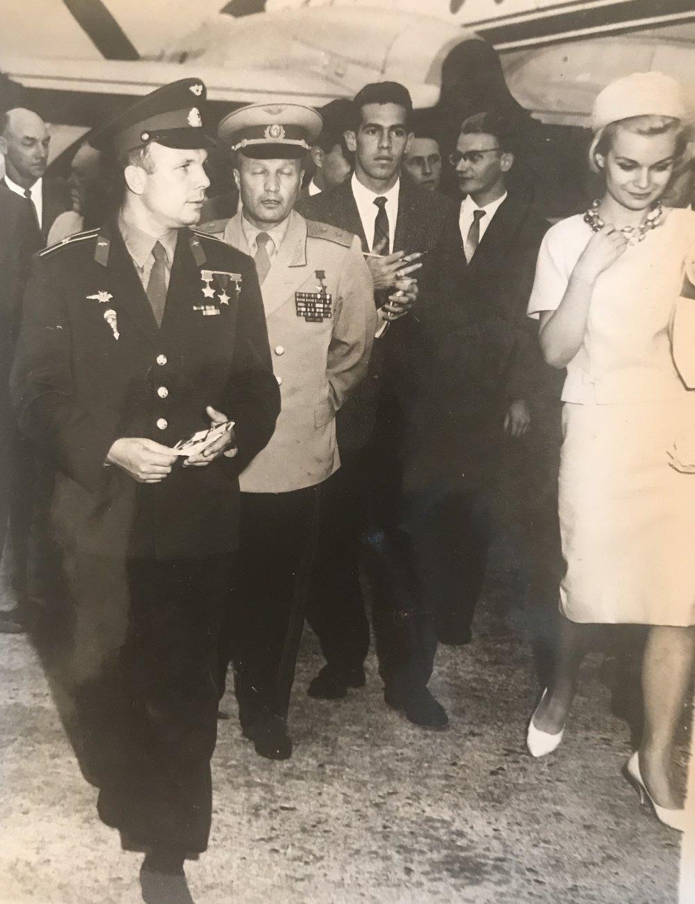 First man in space Yuri Gagarin with my mother Elena Dixon