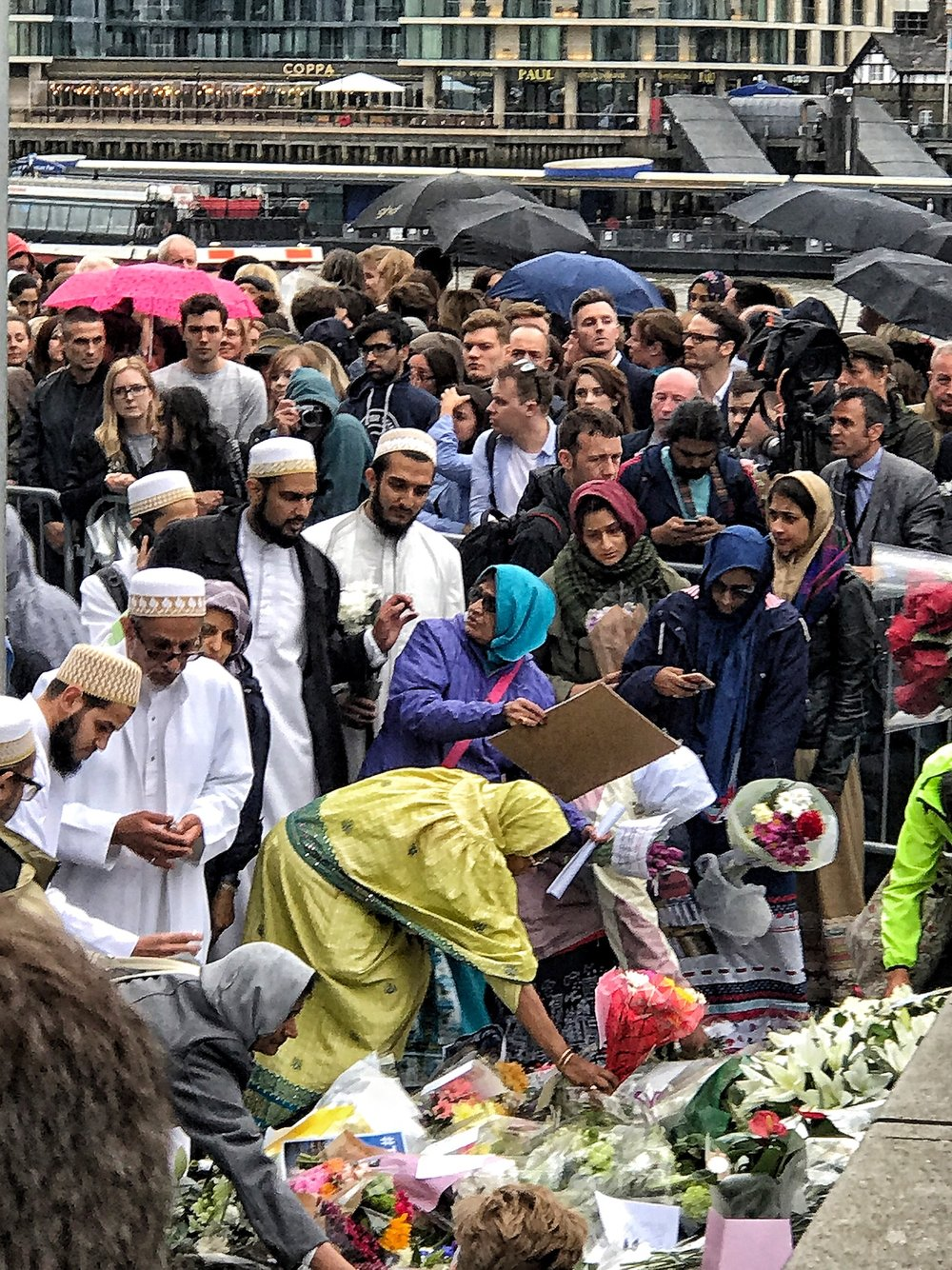 People of all religions laying flowers paying respects their for the victims of the London Bridge Terrorist Attack