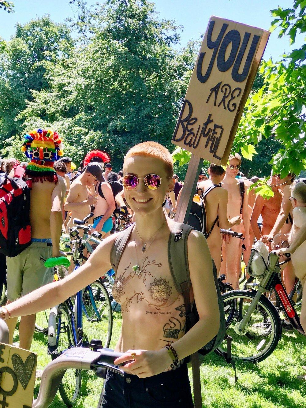 You Are Beautiful. World Naked Bike Ride 2017. Start Hyde Park London